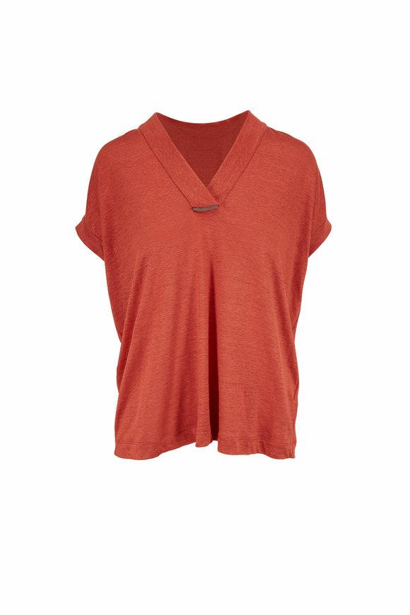 Brunello Cucinelli Canyon Linen & Silk Cap Sleeve Top