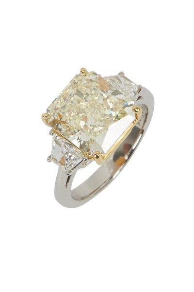 Louis Newman - White & Fancy Yellow Diamond Radiant Bridal Ring