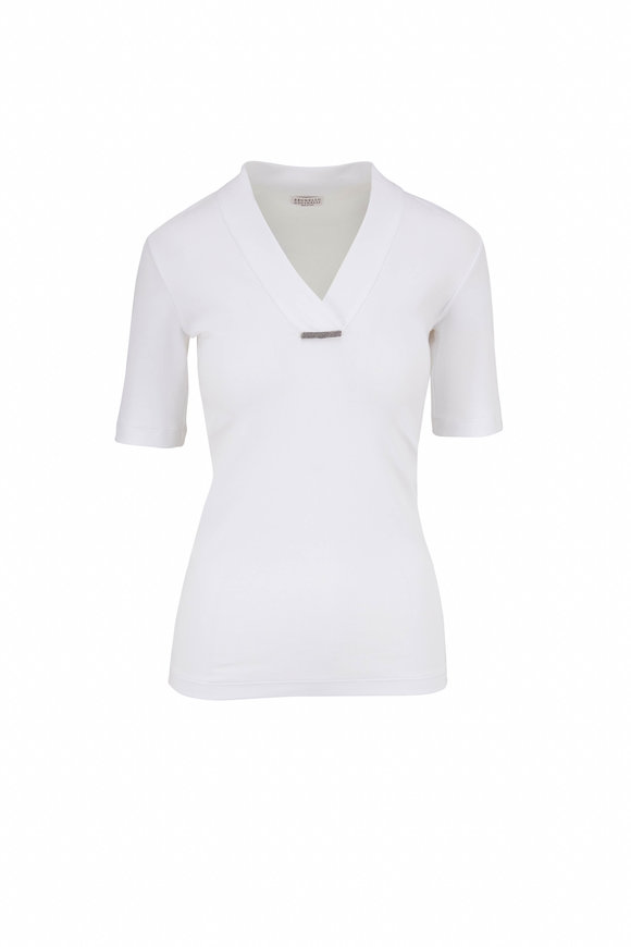 Brunello Cucinelli White Ribbed Cotton Elbow Sleeve T-Shirt