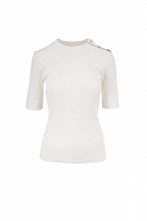 Brunello Cucinelli White Cotton Ribbed T-Shirt