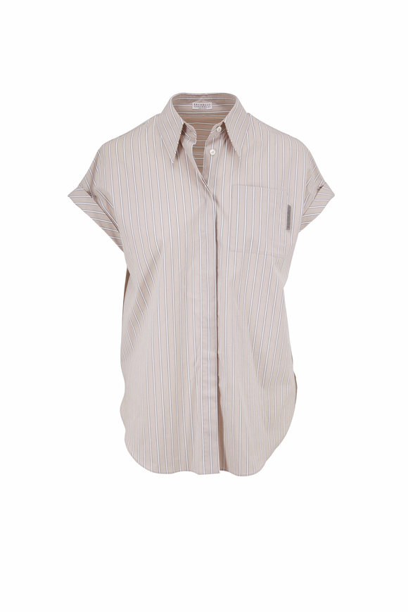 Brunello Cucinelli Beige Stripe Poplin Cap Sleeve Button Down