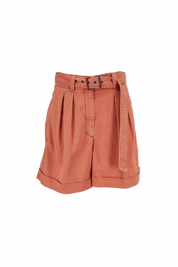 Brunello Cucinelli Canyon Garment Dyed Belted Denim Short