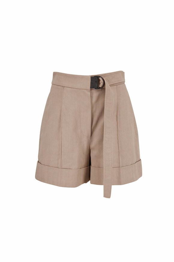 Brunello Cucinelli Light Taupe Cotton Twill Tailored Belted Short