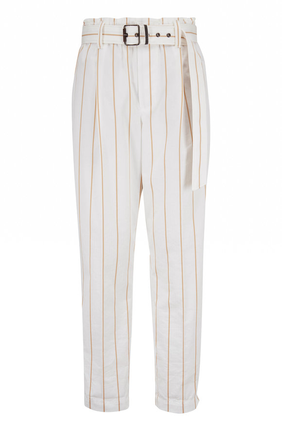 Brunello Cucinelli White & Tan Stripe Cotton Belted Pant