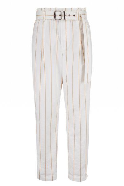 Brunello Cucinelli - White & Tan Stripe Cotton Belted Pant