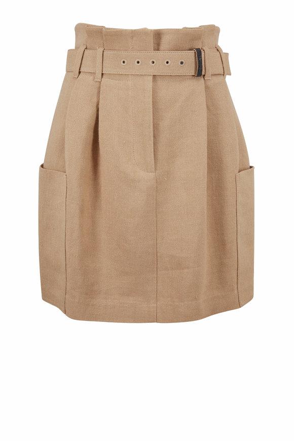 Brunello Cucinelli Khaki Linen Patch Pocket Belted Mini Skirt