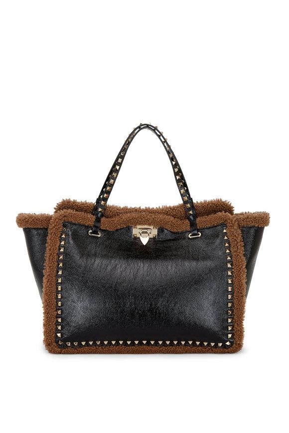 Valentino Garavani Black Patent Leather & Shearling Trim Tote