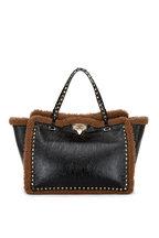 Valentino Garavani - Black Patent Leather & Shearling Trim Tote