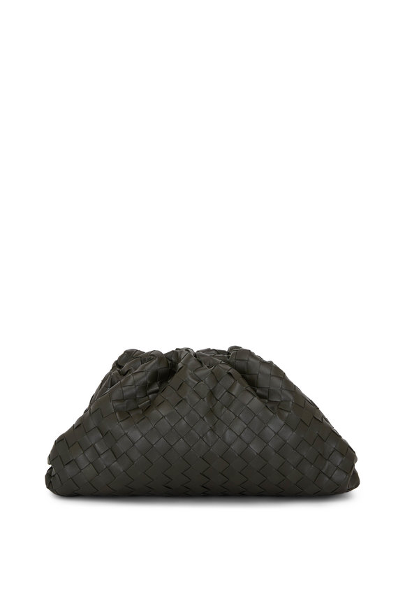 Bottega Veneta The Pouch Dark Green Leather Intrecciato Large Bag