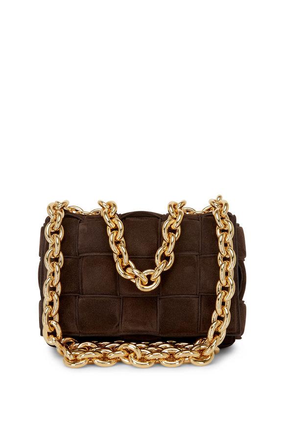 Bottega Veneta Cassette Fondente Woven Suede Chain Shoulder Bag