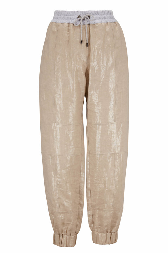 Brunello Cucinelli Light Gold Coated Linen Drawstring Pant