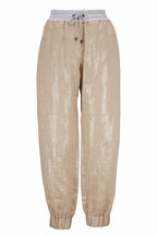 Brunello Cucinelli - Light Gold Coated Linen Drawstring Pant