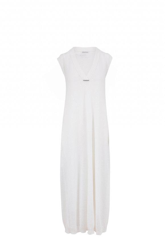 Brunello Cucinelli White Linen & Silk Paillette Sleeveless Dress