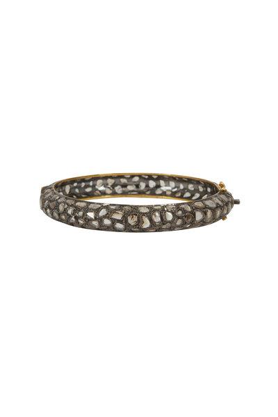 Loriann - Gold Moonstone Black Spinel Bangle Bracelet