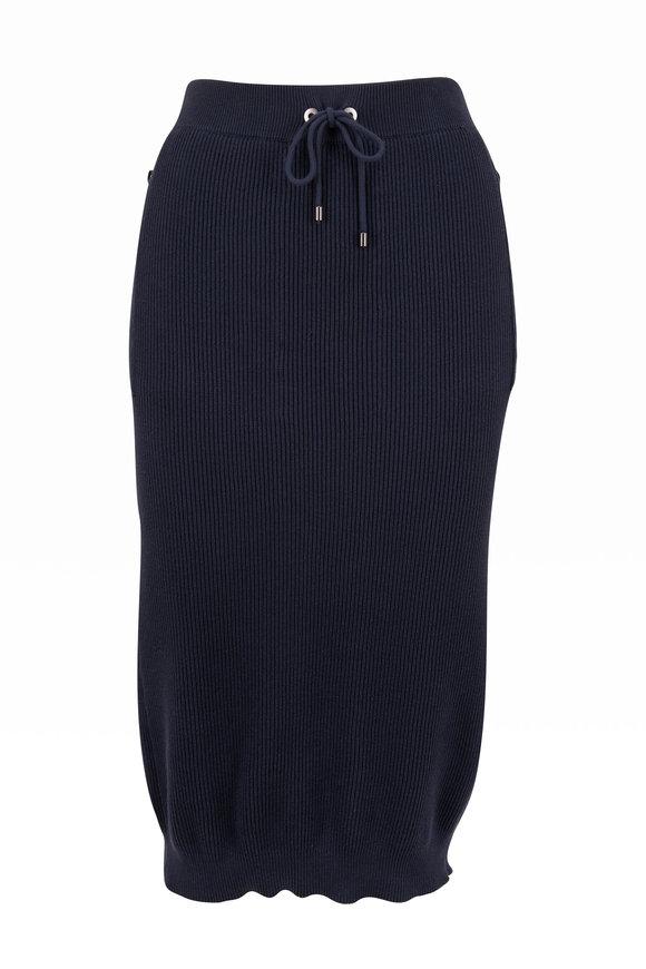 Brunello Cucinelli Midnight Cotton English Rib Midi Skirt