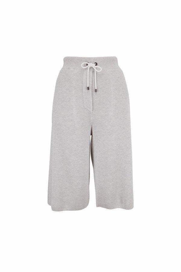 Brunello Cucinelli Gray Ribbed Cotton Spa Shorts