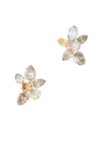 Eclat - Pink Gold Diamond Cluster Earrings