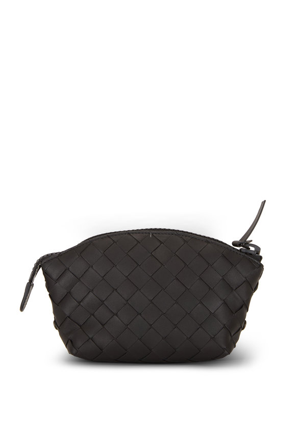 Bottega Veneta Black Leather Pouch With Nylon Tote