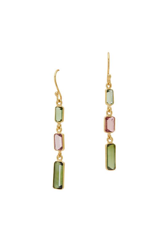 Loriann Triple Tourmaline Baguette Drop Earrings