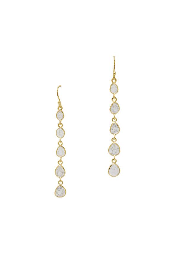 Loriann 18K Yellow Gold Five Diamond Slice Earrings