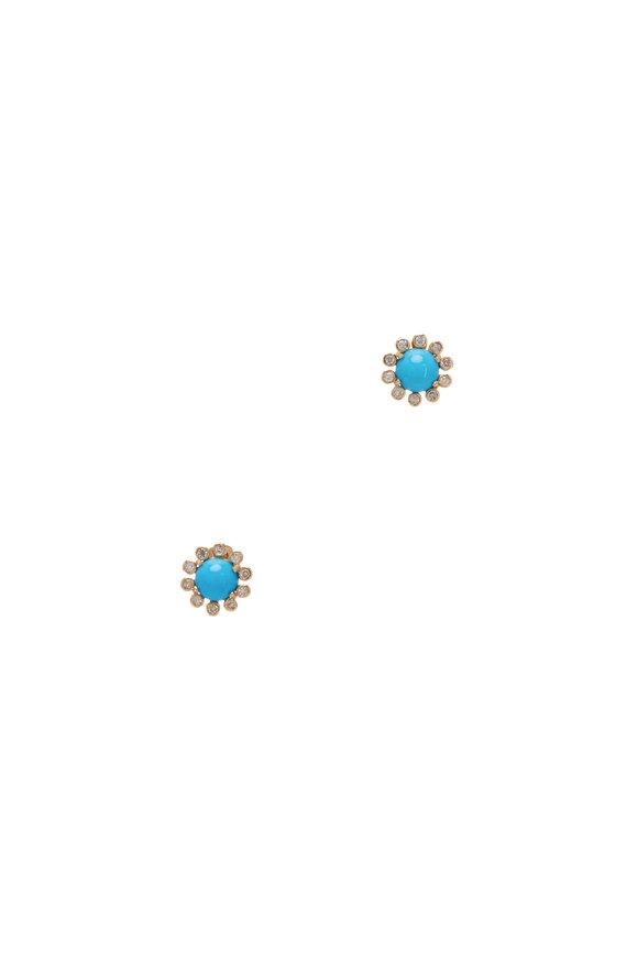 Loriann 18K Yellow Gold Turquoise & Diamond Studs