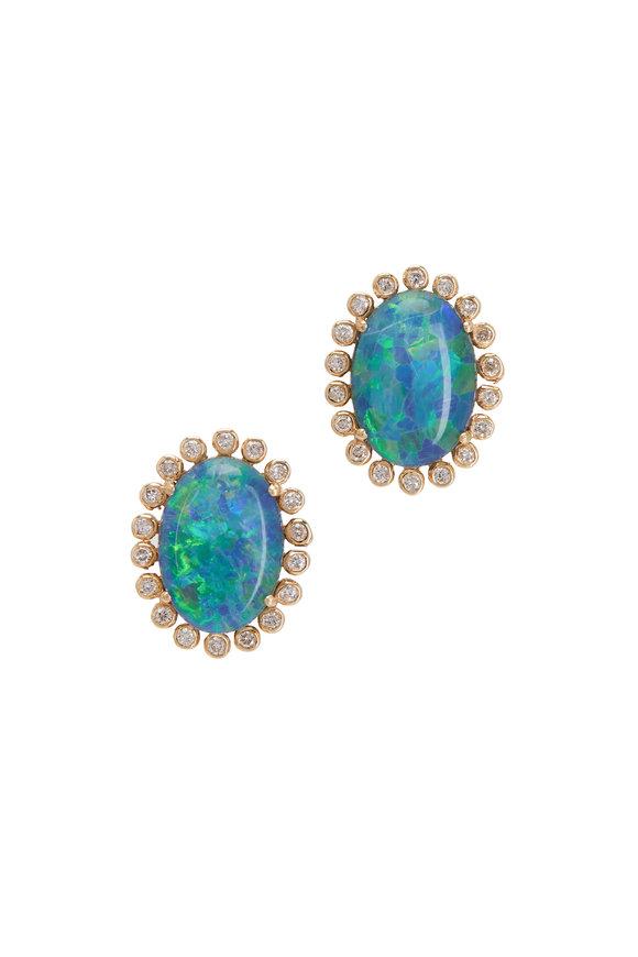 Loriann 18K Yellow Gold Opal & Diamond Studs