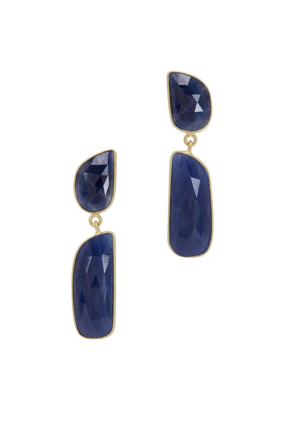 Loriann 18K Yellow Gold Organic Sapphire Drop Earrings