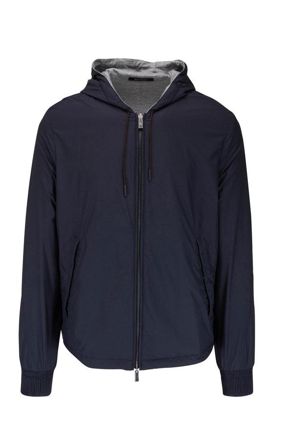 Ermenegildo Zegna Navy & Gray Reversible Hooded Windbreaker