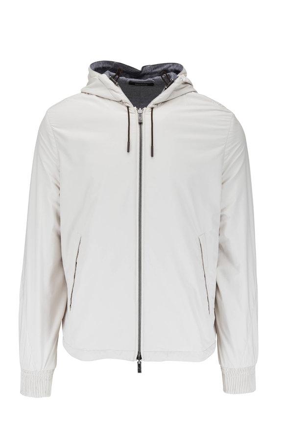 Ermenegildo Zegna Off White & Gray Reversible Hooded Windbreaker