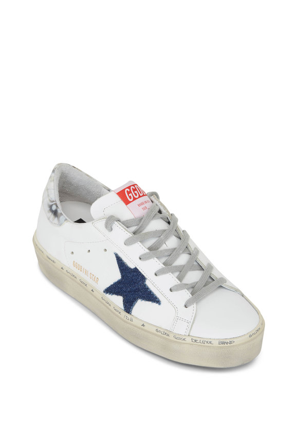 Golden Goose Hi Star White Leather & Denim Star Sneakers