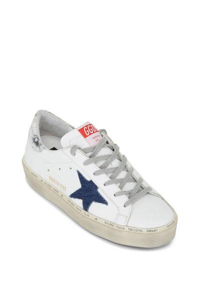Golden Goose - Hi Star White Leather & Denim Star Sneakers