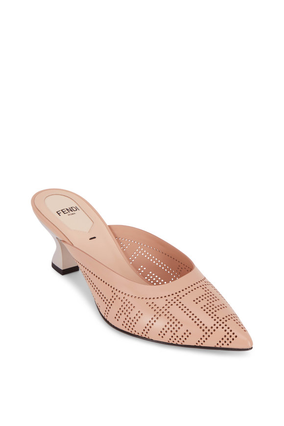Fendi Nude Leather Lasercut Mule, 55mm