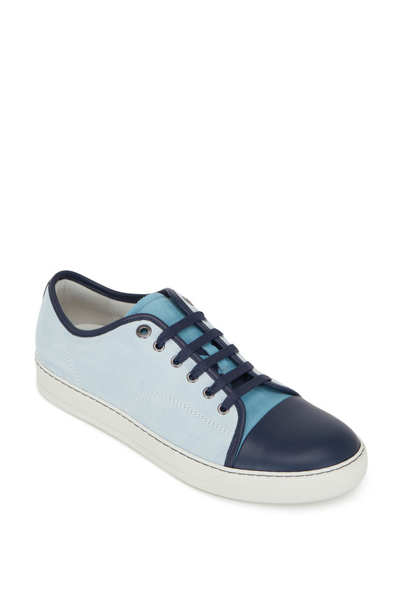 Lanvin Vena Light Blue Suede Cap Toe Sneaker