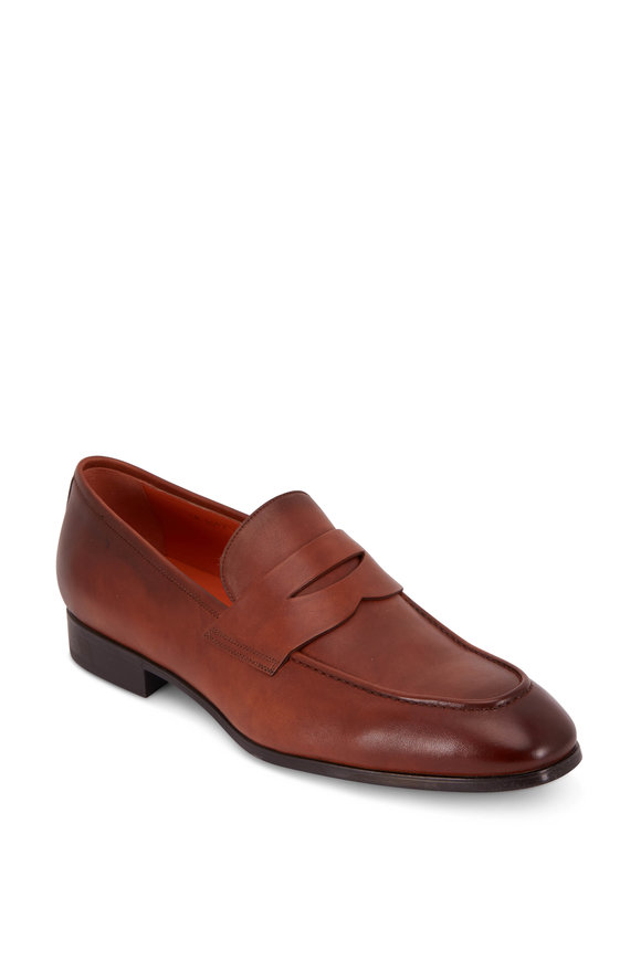 Santoni Pet Brown Leather Penny Loafer