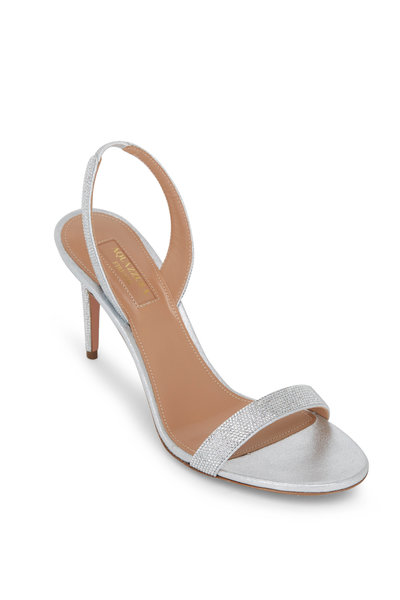 Aquazzura - So Nude Silver Leather Slingback Heels, 85mm