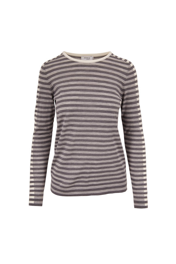 Akris Punto Tri Color Gray Stripe Knit Top
