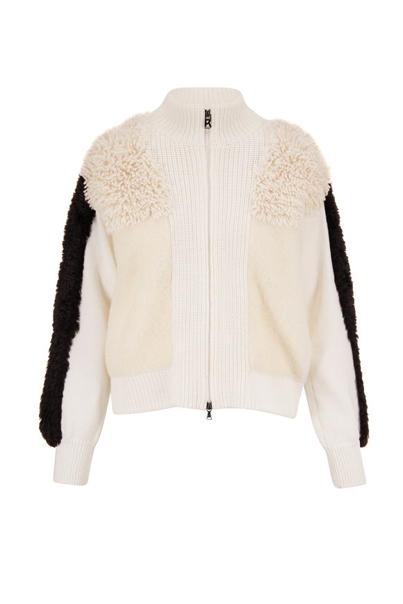 Bogner Maglie Ivory & Black Mixed Media Front Zip Sweater