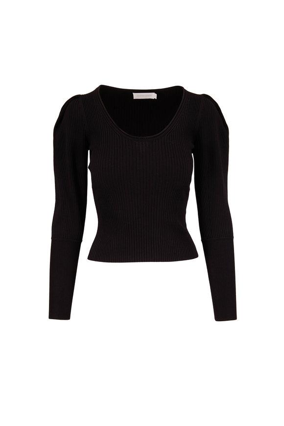 Jonathan Simkhai Mila Black Ribbed Puffed Sleeve Knit Top