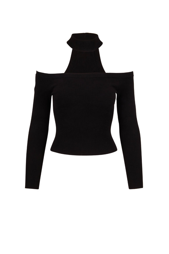 Jonathan Simkhai Madison Black Off-The-Shoulder Sweater