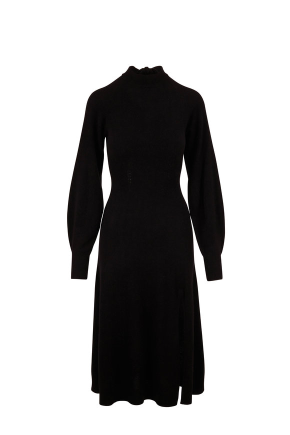 Jonathan Simkhai Brielle Black Cashmere Keyhole Back Dress