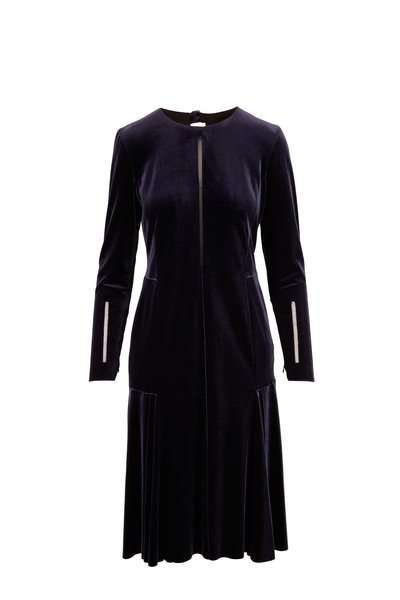 Akris - Navy Velvet Long Sleeve Cocktail Dress