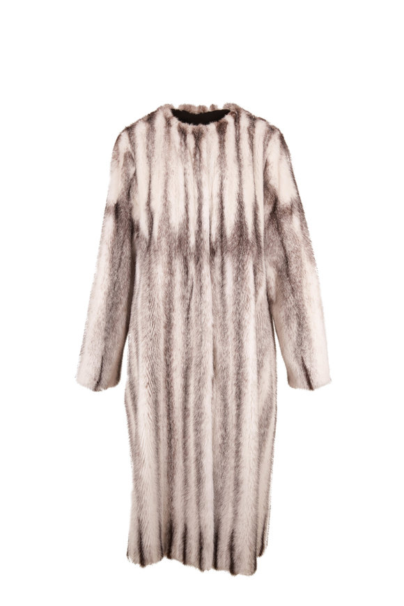 Oscar de la Renta Furs Black & Ivory Striped Mink Coat