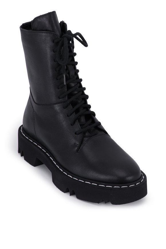 Aquatalia Hana Black Leather Lace Up Combat Boot
