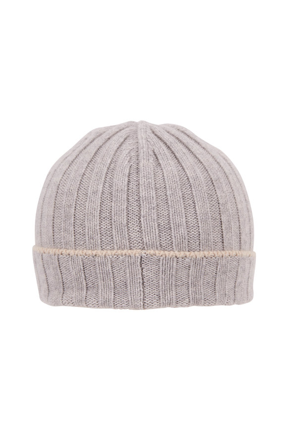 Brunello Cucinelli Light Gray Ribbed Cashmere Hat