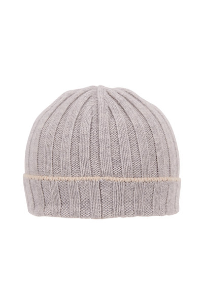 Brunello Cucinelli - Light Gray Ribbed Cashmere Hat