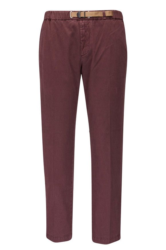 White Sands Greg Merlot Stretch Cotton Belted Pant