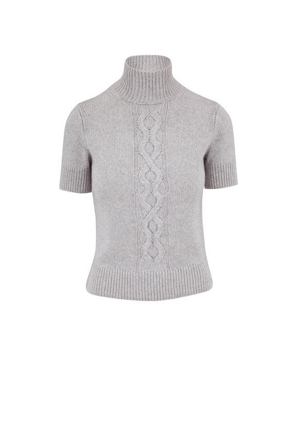 Lafayette 148 New York Light Gray Cropped Mockneck Sweater