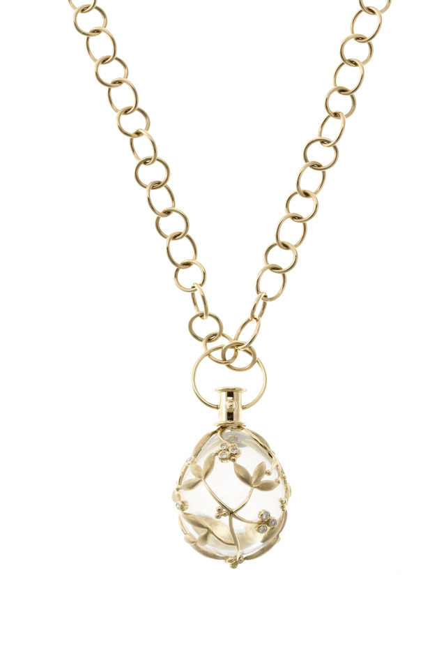 Yellow Gold Vine Crystal Egg Diamond Charm Pendant