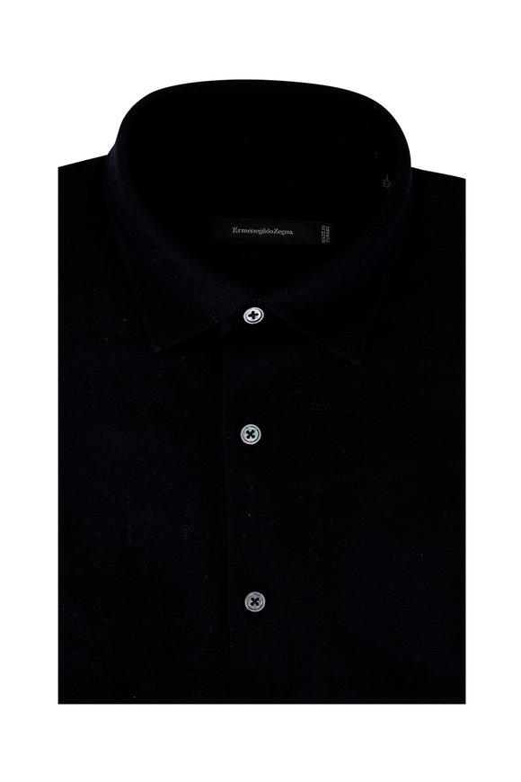 Ermenegildo Zegna Solid Navy Blue Knit Sport Shirt