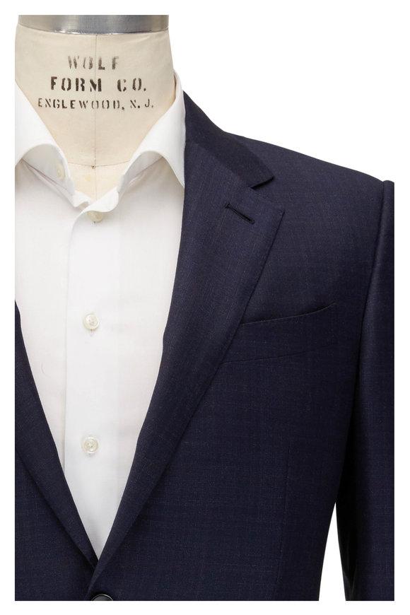 Ermenegildo Zegna Navy & Brown Windowpane Wool & Silk Suit